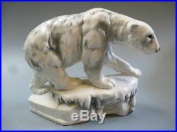 Art Déco Céramique Eisbär Animal Figurine Ours Polaire Pôle Nord Arctique À 1930