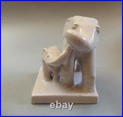 Art Déco Céramique Éléphant Avec Jeune Animal Friedrich Hudler Diessen Um 1930
