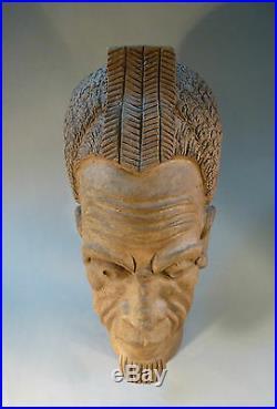 Art Déco Pièce Unique Céramique Buste Tête Egyptiens Fier Signé Lifesize 47cm
