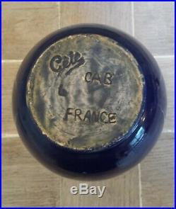 Art Deco Vase Bleu Felix Gête Ceramique D'art De Bordeaux Cab 1930