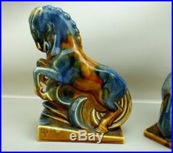 Art Deco Vers 1930 Paire De Serre Livres Chevaux Stylises Ceramique