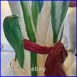 Art Déco/Vintage Grand Pied Lampe de Table Céramique/Barbotine peint à la main