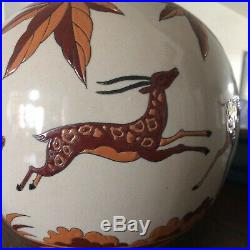 Art-déco Grand Vase Boule En Céramique Craquelé Décoré A La Main, tamponné