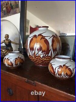 Art deco, Lot 3vases, céramique Craquelée DLG(catteau Chevalier) La Louvière