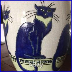 Art-déco Vase Important En Céramique Craquelé Décoré Main, estampillé