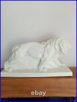 Art deco céramique craquelée lion Peugeot années 30/40