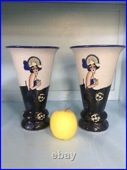 Art deco, paire Vase, Céramique Craquelée, lalouviére