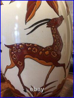 Art deco, paire Vase, céramique Craqulée, DLG (catteau Chevalier) La Louvière
