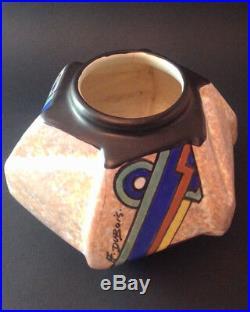 Art déco vase céramique cubiste géométrique décor abstrait signé A. Dubois