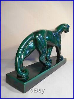 Authentique Statue Animaliere Panthere Ceramique Saint Clement France Art Deco