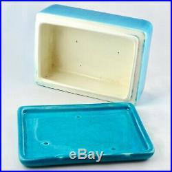 BOITE Bleu Céramique BOCH FRERES La Louvière Faïence Craquelée Art Déco Belgique