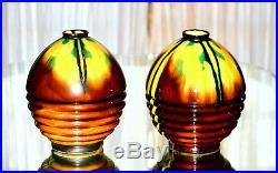 BOULOGNE SUR MER, Henri Delcourt. Paire de vases Art déco en céramique flammée
