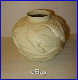 B Tres Joli Vase Boule Art Deco Aux Oiseaux, Ceramique