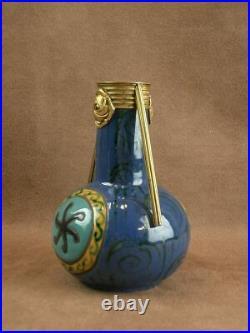Beau Vase Art Deco En Ceramique De Vallauris Monture Bronze Signé Jean Leclerc