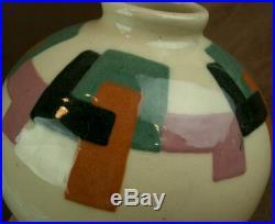 Beau Vase Art Deco En Ceramique Signé Simone Larrieu