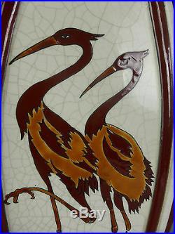 Beau Vase Haut Et Plat Decor Herons Ceramique Emaux Style Art Deco Echassissier