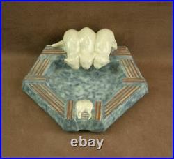 Belle Ceramique Art Deco Craquelé Chats & Souris Vide Poche Signée D'argyl