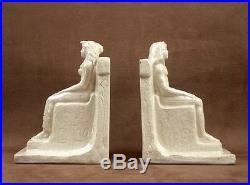 Belle Paire De Serre Livre Ceramique Craquele Art Deco Signé Pharaon Egypte