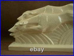 Belle Sculpture Ceramique Craquelée Art Deco Couple De Levriers 1930