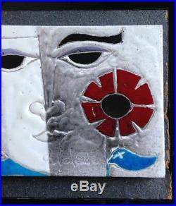 Belle plaque céramique Visage Art déco Gilbert VALENTIN Les archanges Vallauris