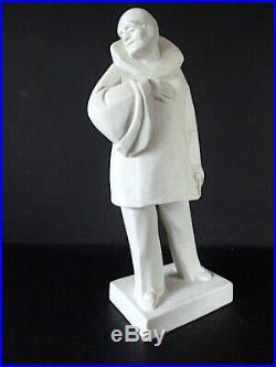 Biscuit Clown Canio Opéra italien signé Riboulet Art Deco Cubiste Théâtre 40 cm