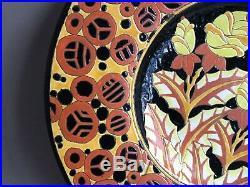 Boch Frères Keramis plat en ceramique émaux cloisonnés Art Déco 1930 50cm