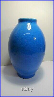 Boch La Louvière Vase Craquelé Bleu céramique Art-Deco