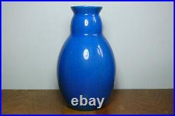 Boch La Louvière Vase Craquelé Bleu céramique Art-Deco (1920 1949)