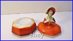 Boite à poudre poudrier à l'élégante céramique polychrome Art déco