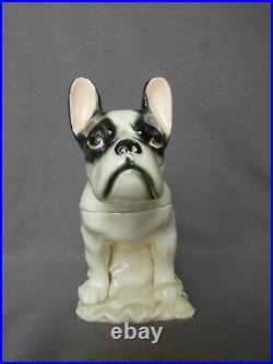 Boite art deco bouledogue francais sculpture en ceramique chien bulldog statue