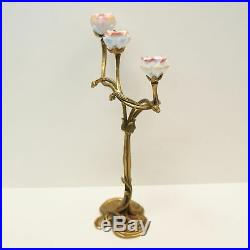 Bougeoir Fleurs Style Art Deco Style Art Nouveau Bronze massif Ceramique Porcela