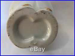 Bouteille Ceramique Blanche Rehausse Dorure Colombine Art Deco Gout Robj L17