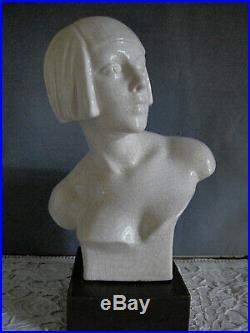 Buste Sculpture Femme Art Deco Céramique craquelée G. TRINQUE Signé vers 1925