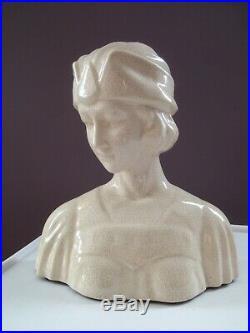 Buste céramique craquelé art déco année 40