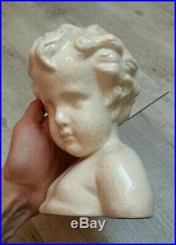 Buste d'enfant chérubin en céramique émaillée craquelé LEVALLOIS FRANCOIS 1930