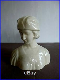 Buste de femme en céramique craquelée L et V CERAM ART DECO