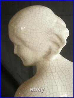 CERAMIQUE CRAQUELEE ART DECO jeune femme signée G. NININ 1930 bel état