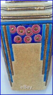 CERAMIQUE LONGWY paire de vases Art Déco en émaux de Longwy