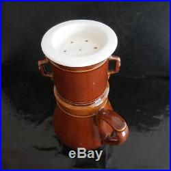 Cafetière céramique porcelaine marron blanc Design vintage Art Déco France N3149