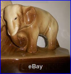 Ceramique Art Deco Couple D'elephants Signee Levallois Francois Craquelee