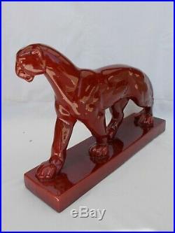 Ceramique Art Deco Panthere Jouve Saint Clement French Vintage Ceramic Panther