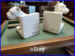 Ceramique Craquelee Signee R. David Paire De Serre-livres Chiens Art Deco