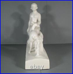 Céramique Craquelée Style Art Déco Femme Nue Diane Et Biche Signée L. François
