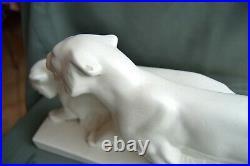 Céramique Les Lionnes Faïence craquelée Art Déco