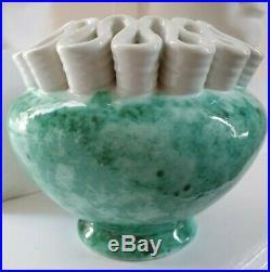 Céramique Sainte Radegonde Vase art déco vert/blanc
