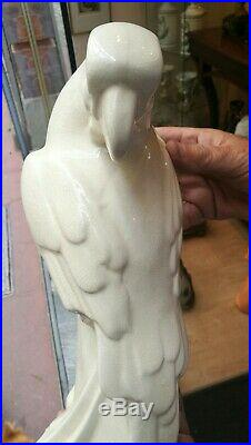 Céramique craquelé Cacatoès perroquet Art Déco tampon d'époque Longwy