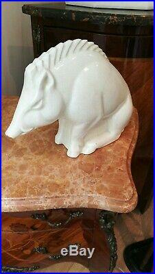 Céramique craquelé Sanglier Saint Clément Lemanceau Art Déco Longwy Rare