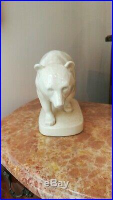 Céramique craquelé faïence Ours Sarreguemines Art Déco rare