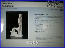 Ceramique faience Etha Lempke ART DECO Lévrier sculpture signée original 1930