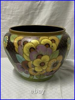 Charles Catteau Boch Frère Keramis Cache Pot Céramique Perroquet D. 1740 Art Deco